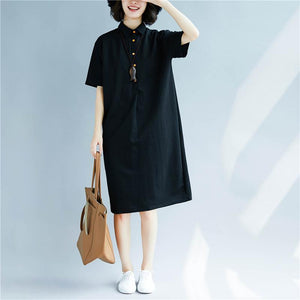 New black cotton shift dresses trendy plus size cotton dress top quality short sleeve Turn-down Collar cotton dress