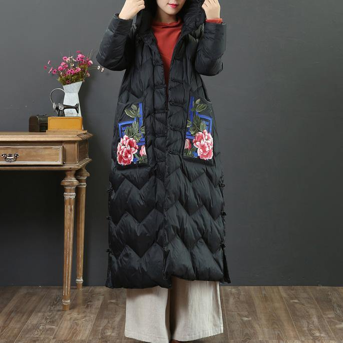 New black goose Down coat Loose fitting embroidery pockets womens parka hooded Luxury winter outwear