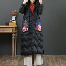 Load image into Gallery viewer, New black goose Down coat Loose fitting embroidery pockets womens parka hooded Luxury winter outwear