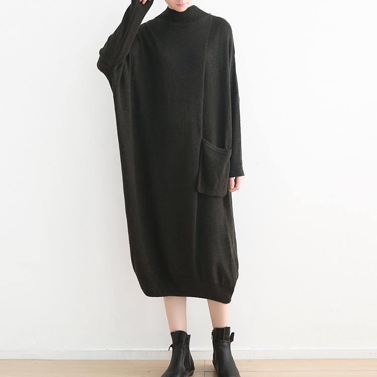New black knit dress oversize high neck winter dress New pockets asymmetric winter dresses