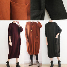Load image into Gallery viewer, New black knit dress oversize high neck winter dress New pockets asymmetric winter dresses