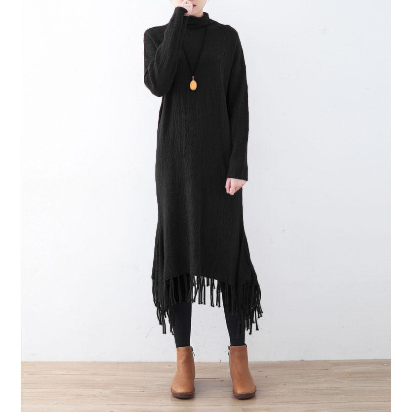 New black knit dresses oversize high neck spring dresses pockets Tassel pullover