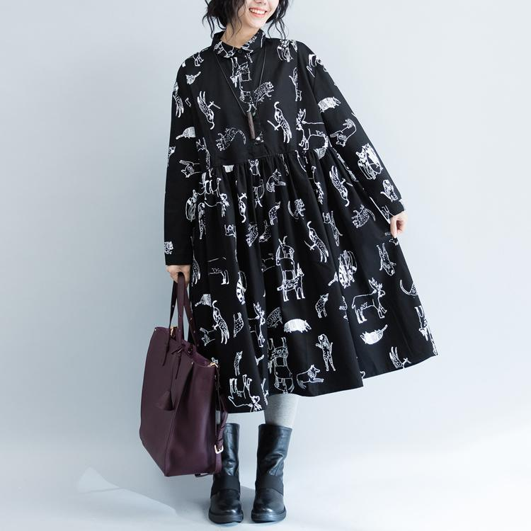 New black print 2018 fall dress plus size clothing Turn-down Collar large hem cotton gown Fine long sleeve baggy dresses