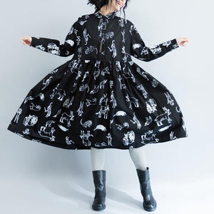 New Black Print 2021 Fall Dress Plus Size Clothing Turn-down Collar Large Hem Cotton Gown Fine Long Sleeve Baggy Dresses