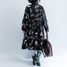 Load image into Gallery viewer, New Black Print 2021 Fall Dress Plus Size Clothing Turn-down Collar Large Hem Cotton Gown Fine Long Sleeve Baggy Dresses