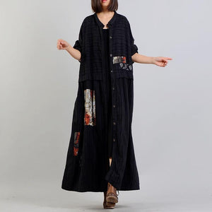New black print coats plus size clothing long stand collar women patchwork coats