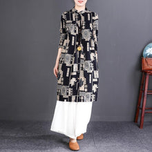 Load image into Gallery viewer, New black print cotton linen shirt dresses plus size clothing Fine long sleeve Stand cotton shirt dresses