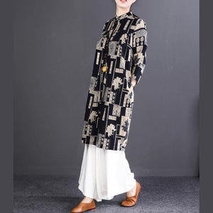 New black print cotton linen shirt dresses plus size clothing Fine long sleeve Stand cotton shirt dresses