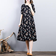 Load image into Gallery viewer, New black prints autumn cotton dress plus size o neck cotton gown casual long sleeve maxi dresses