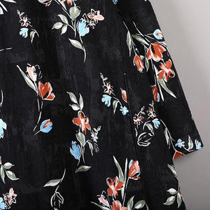 New black prints autumn cotton dress plus size o neck cotton gown casual long sleeve maxi dresses
