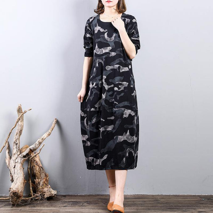 New black prints cotton dress oversize traveling clothing long sleeve 2018 o neck cotton clothing