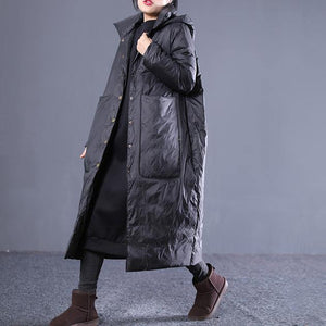 New black winter down coat plus size hooded quilted coat thick Large pockets down coats