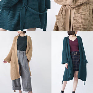 New blackish green Wool Coat trendy plus size flare sleeve tie waist cardigans Fine pockets maxi coat
