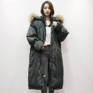 New blackish green goose Down coat trendy plus size faux fur collar hooded snow jackets tie cuff sleeve overcoat