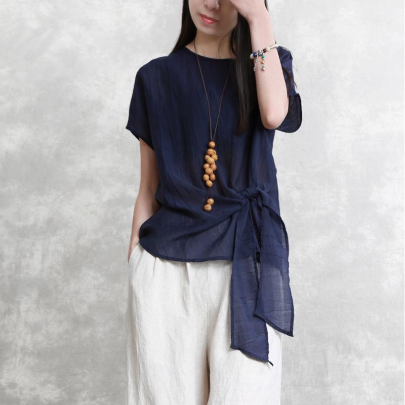 New blue  natural linen t shirt plus size holiday tops Elegant tie waist o neck linen cotton tops