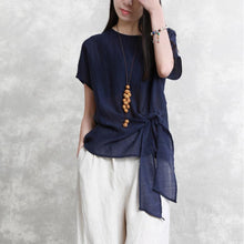 Load image into Gallery viewer, New blue  natural linen t shirt plus size holiday tops Elegant tie waist o neck linen cotton tops