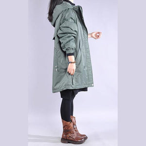 New blue casual outfit oversize winter jacket hooded drawstring winter outwear