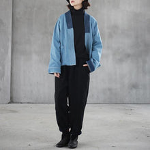Load image into Gallery viewer, New blue cotton oversize holiday tops vintage cardigans patchwork color cotton coat