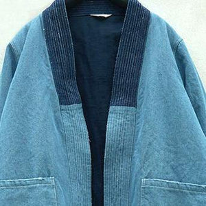 New blue cotton oversize holiday tops vintage cardigans patchwork color cotton coat