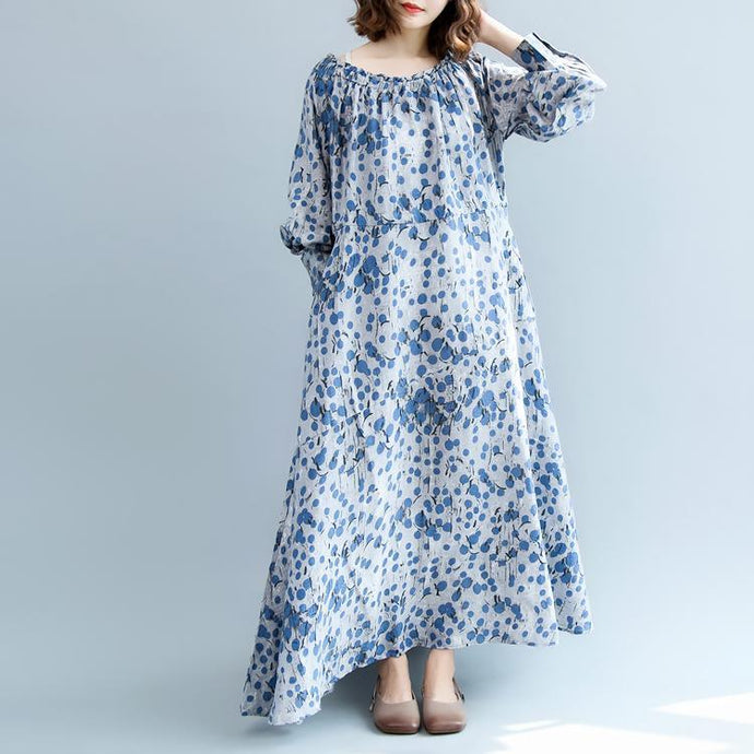 New blue dotted cotton linen dress oversized O neck baggy dresses traveling clothing Fine lantern sleeve exra large hem dresses