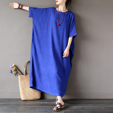 Load image into Gallery viewer, New blue embroidery clothes For Women top quality Christmas Gifts Love Batwing Sleeve o neck Dresses