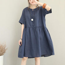 Load image into Gallery viewer, New blue linen caftans trendy plus size O neck short sleeve linen gown women patchwork baggy dresses
