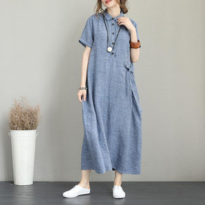 New blue linen dresses Loose fitting turn-down collar linen gown boutique short sleeve tie waist gown