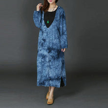 Load image into Gallery viewer, New blue long plus size V neck A line skirts linen clothing dresses side open women pockets kaftans