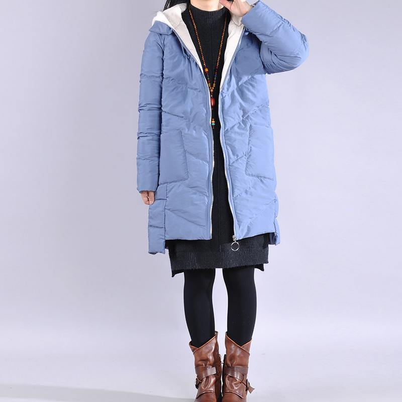 New blue outwear plus size clothing warm winter coat low high design hooded winter outwear