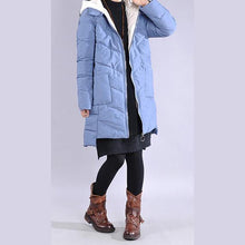 Load image into Gallery viewer, New blue outwear plus size clothing warm winter coat low high design hooded winter outwear