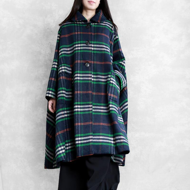 New blue plaid woolen overcoat oversized Winter Peter pan Collar coat