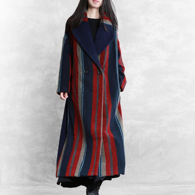 New blue red striped Wool jackets plus size Notched tie waist maxi coat