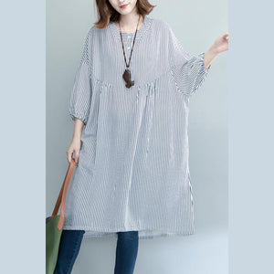 New blue striped pure cotton dresses oversize traveling clothing Fine long sleeve baggy dresses