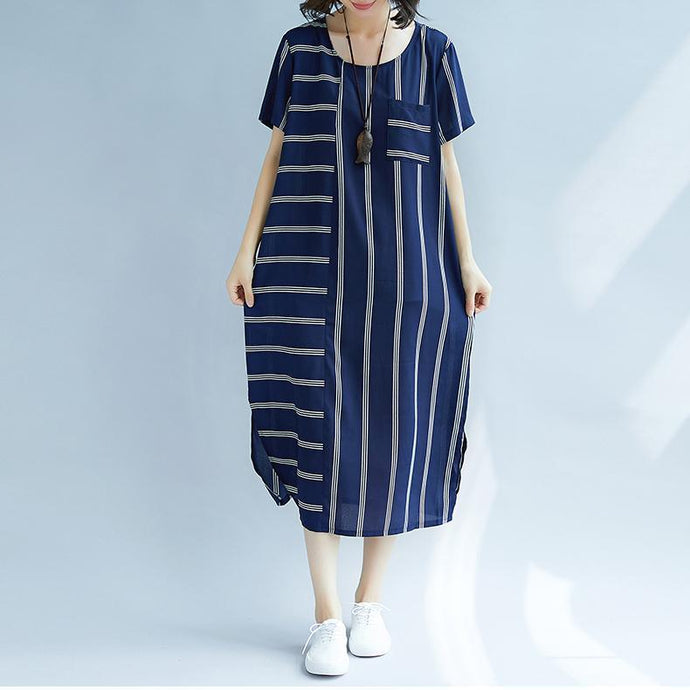 New blue striped silk blended dresses casual O neck baggy dresses traveling clothing casual short sleeve silk blended dresses