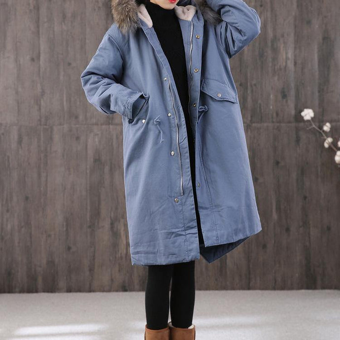 New blue women parka trendy plus size Coats faux fur collar pockets