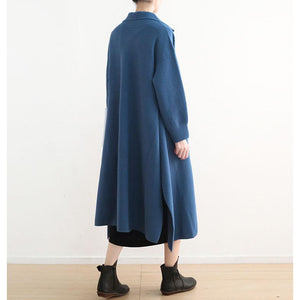 New blue woolen overcoat oversize Winter coat Turn-down Collar coat side open Button Down long coats