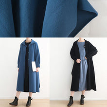 Load image into Gallery viewer, New blue woolen overcoat oversize Winter coat Turn-down Collar coat side open Button Down long coats