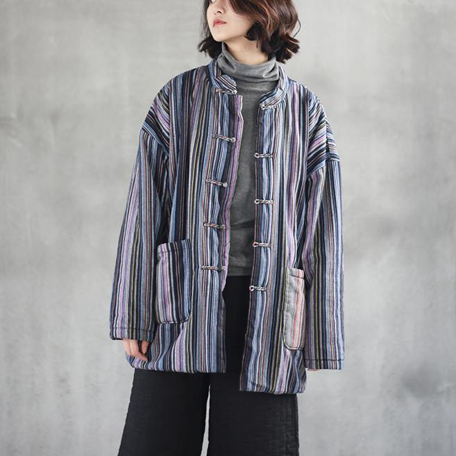 New bule striped  linen tops trendy plus size linen cotton short coat New big pockets Chinese Button cotton clothing