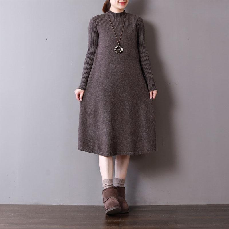 New chocolate knit dresses oversize high neck spring dresses baggy long knit sweaters