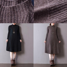 Load image into Gallery viewer, New chocolate knit dresses oversize high neck spring dresses baggy long knit sweaters