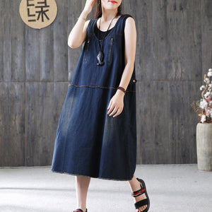 New cotton caftans plus size Denim Sleeveless Summer Loose Blue Zipper Long Dress
