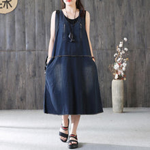 Load image into Gallery viewer, New cotton caftans plus size Denim Sleeveless Summer Loose Blue Zipper Long Dress