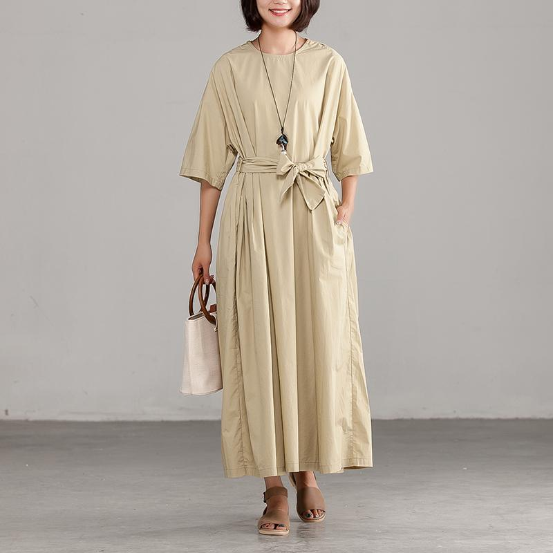 New cotton dresses Loose fitting Khaki Loose Lacing Round Neck Cotton Dress