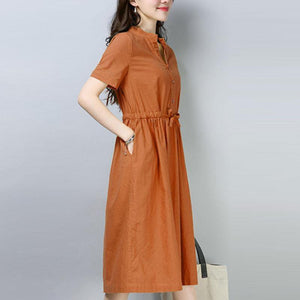 New cotton linen dress plus size Women Casual Short Sleeve Orange Cotton Ramie Dress