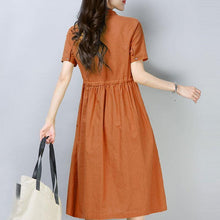 Load image into Gallery viewer, New cotton linen dress plus size Women Casual Short Sleeve Orange Cotton Ramie Dress