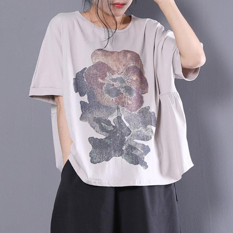 New cotton linen tops trendy plus size Women Loose Short Sleeve Printed Gray T-shirt