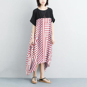 New cotton maxi dress plus size Women Loose Stripe Splicing Short Sleeve Dress