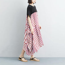 Load image into Gallery viewer, New cotton maxi dress plus size Women Loose Stripe Splicing Short Sleeve Dress