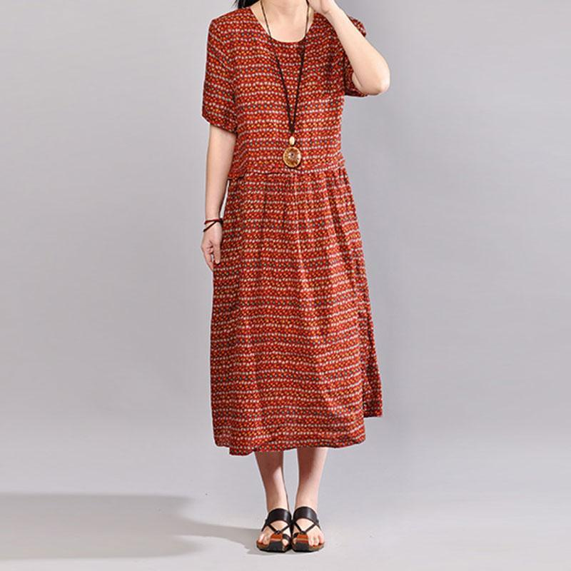 New cotton maxi dress plus size Women Retro Printed Short Sleeve Pullover Dress
