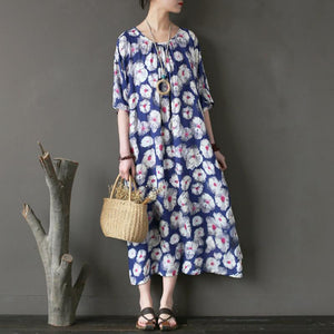 New cotton maxi dress plus size clothing Loose Printing Flower Loose Summer Women Dress